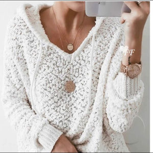 Hooded Sweater White Nubby Knit NWT